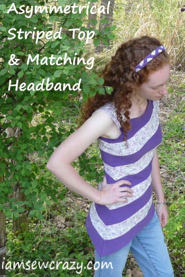 DIY asymmetrical top made of refashioned t-shirts
