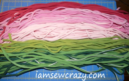 colored t-shirt strips in a pile