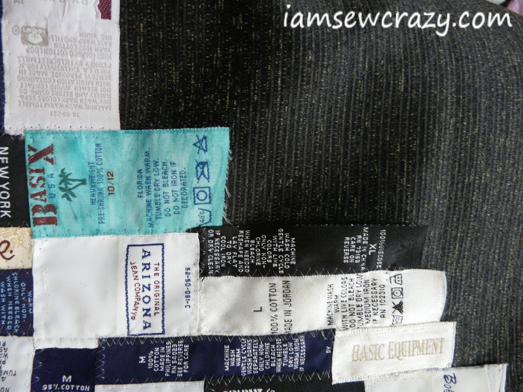 sewing down the labels