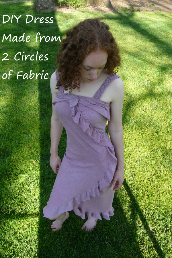 DIY dress made out of 2 circles of fabric