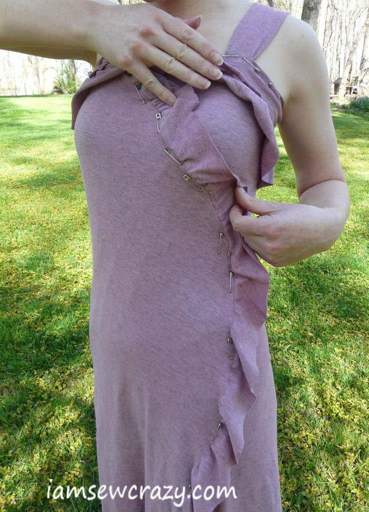 pinning the dress