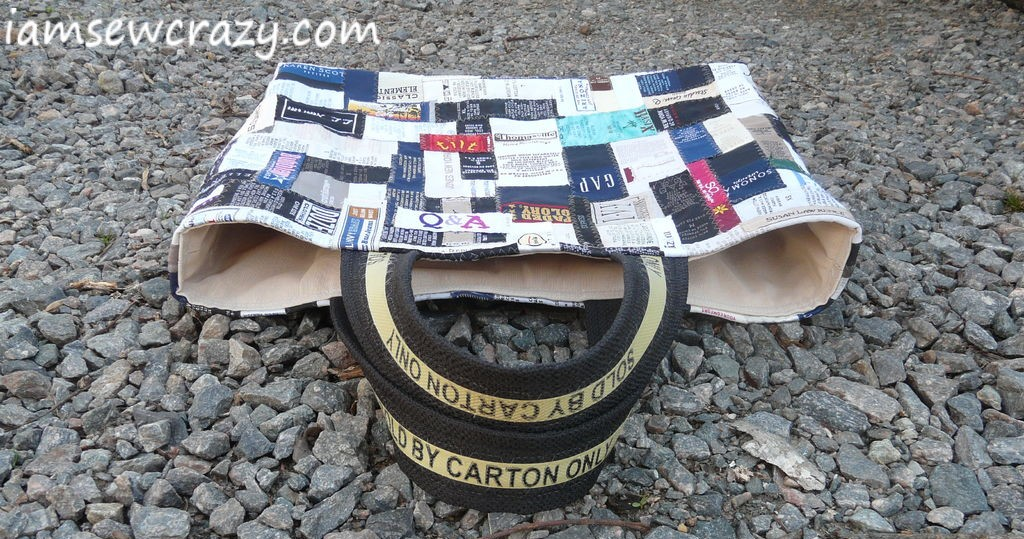 tote bag made from clothing labels