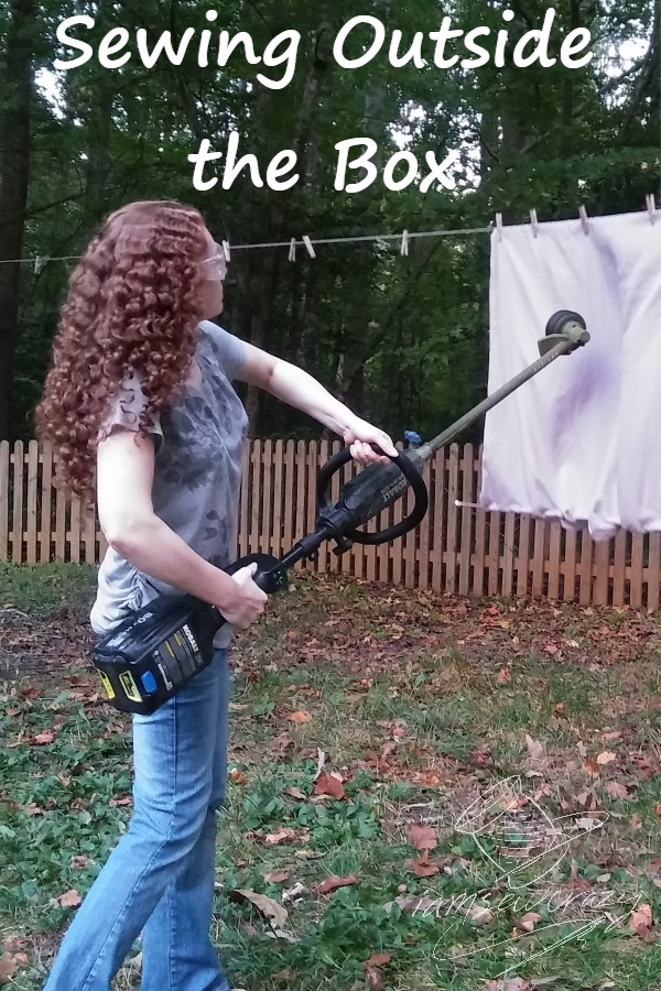 woman ripping fabric with a weed eater with text overlay: sewing outside the box