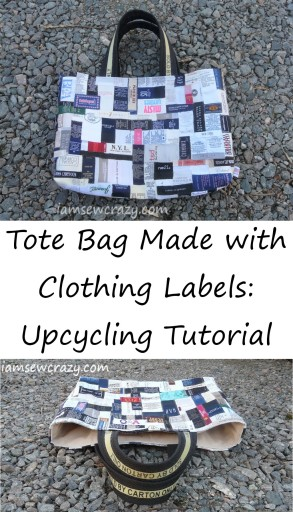 Upcycled tote bag made with clothing labels