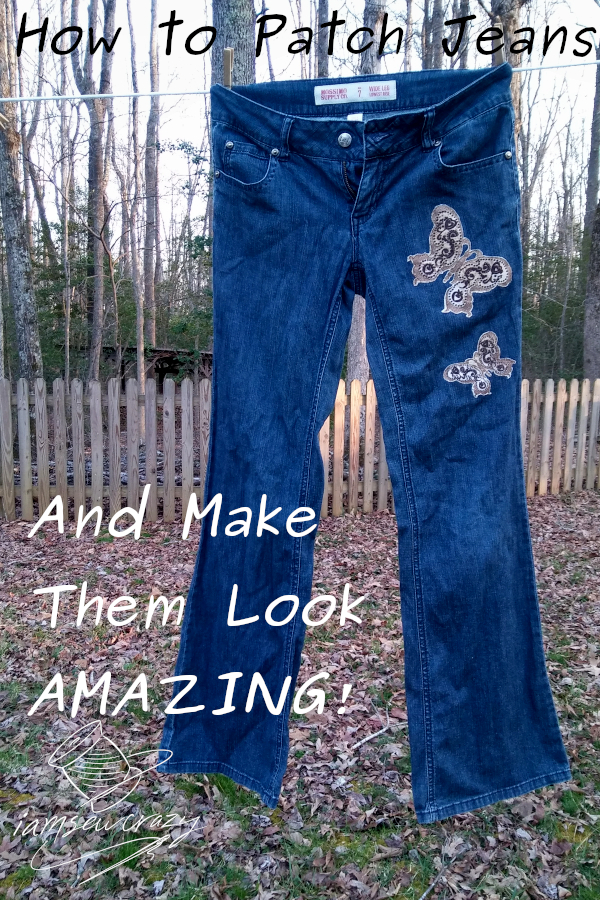 jeans with two butterfly patches hanging on clothesline and text overlay: how to patch jeans and make them look amazing