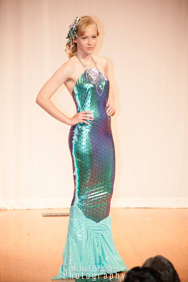 Pattern design for the mermaid dress was just a matter of taking the model's measurements, and transferring them to the fishscale fabric.