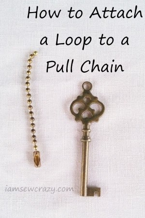 ball chain and skeleton key with text overlay: how to attach a loop to a pull chain