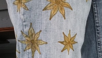 jeans decorated with flowers