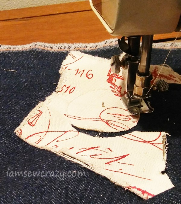 sewing applique fabric in a circle