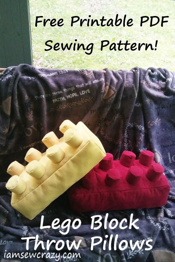free pdf sewing pattern to make lego block pillows