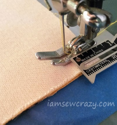 measuring half an inch from the end of the seam