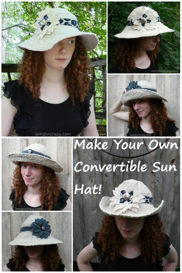 convertible sun hat with text overlay: make your own convertible sunhat