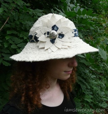 DIY sun hat with fabric flower