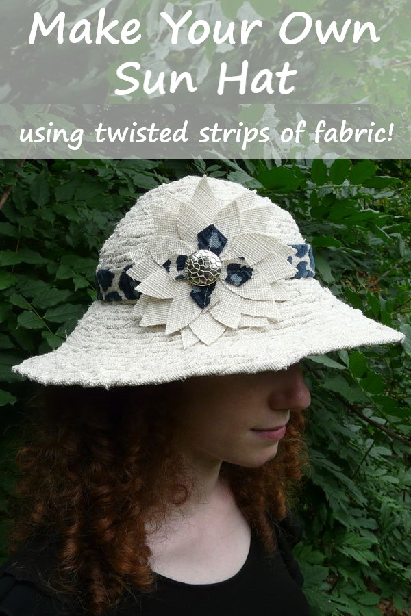 tan sun hat with text overlay: make your own sunhat using twisted strips of fabric