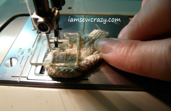stitching through coiled fabric strips