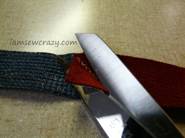 trimming fabric strips after sewing