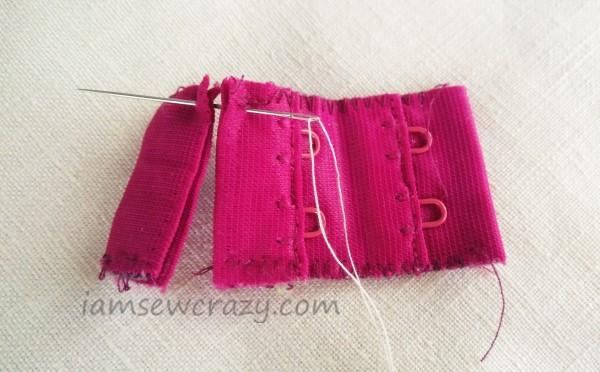 hand sewing a bra extender