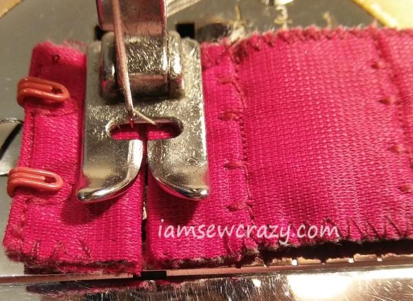 machine sewing a bra extender