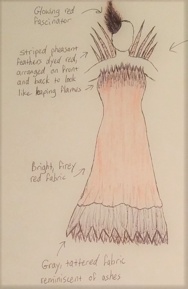 concept sketch of a phoenix dress