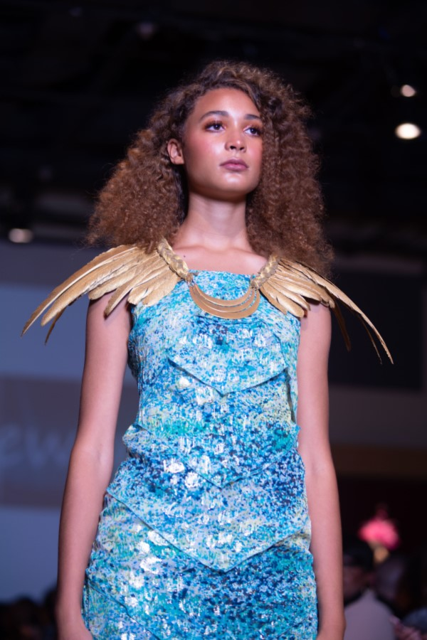 griffin dress with feather collar