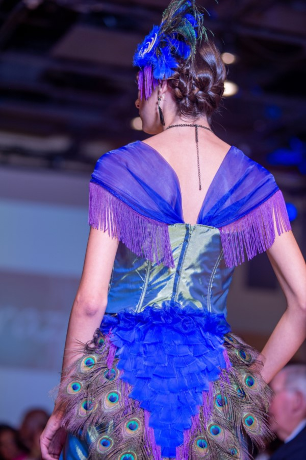 peacock dress with feathers back view