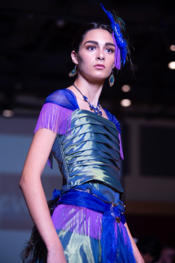 peacock dress with feathers