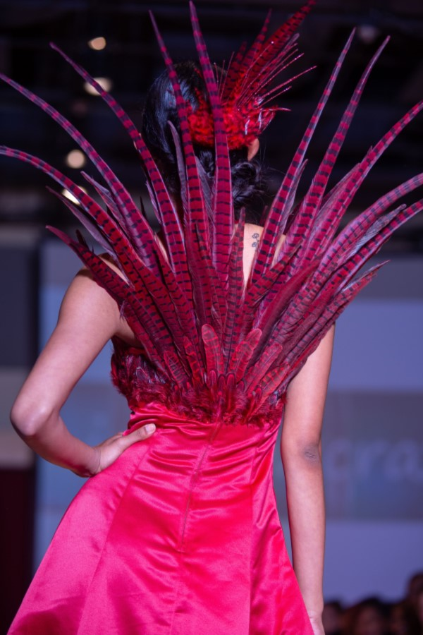 phoenix dress with red feathers back view