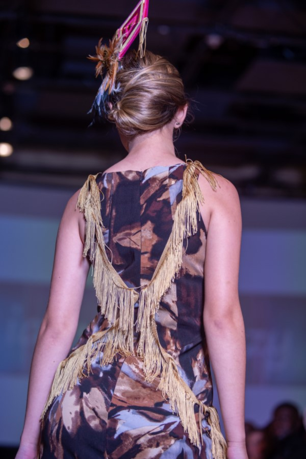 sparrow dress with God's Eye fascinator back view