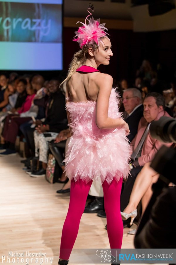 flamingo dress with organza feathers