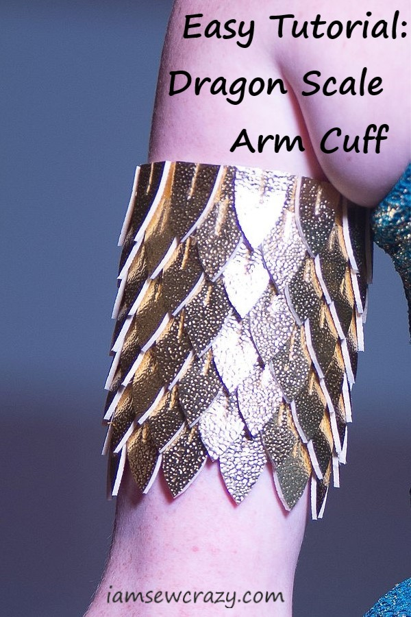dragon scale arm cuff with text overlay: easy tutorial dragon scale arm cuff
