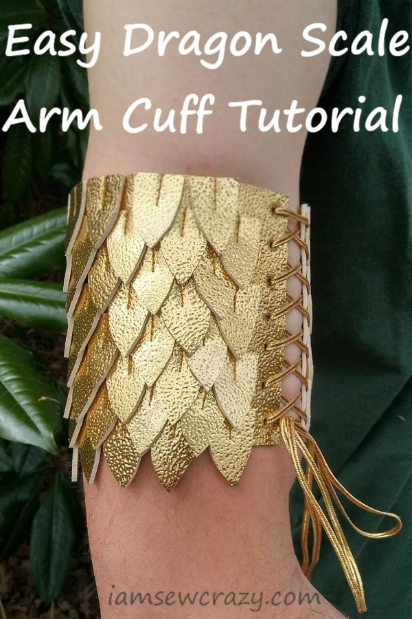 gold dragon scale arm cuff with text overlay: easy dragon scale arm cuff tutorial