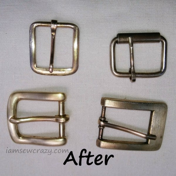 belt buckles with tarnish removed