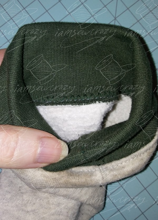 closeup of topstitching on sweatshirt cuff
