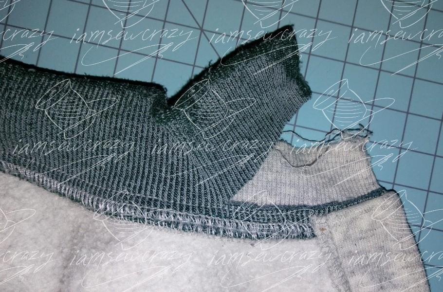cutting neckband off sweatshirt