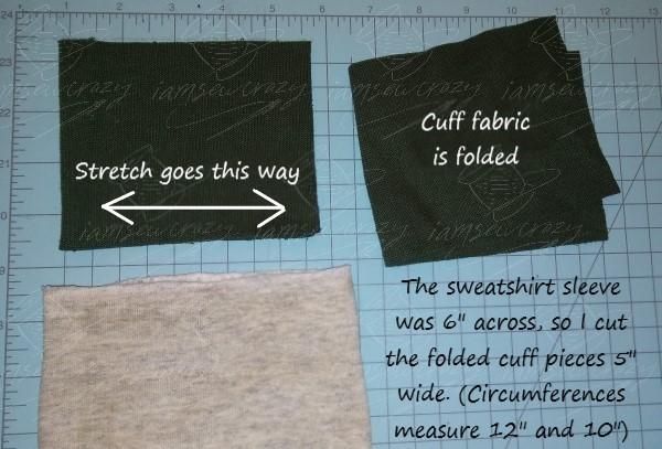 cutting new cuffs for a sweatshirt