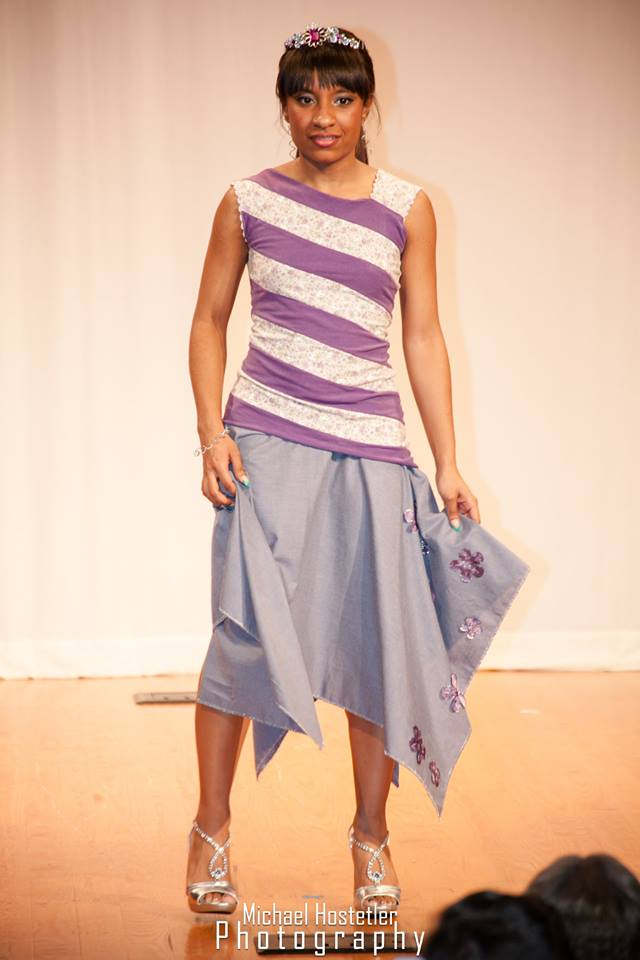 blue handkerchief hem skirt with purple flowers and striped top