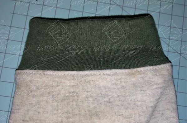 closeup of topstitching on outside of sweatshirt sleeve