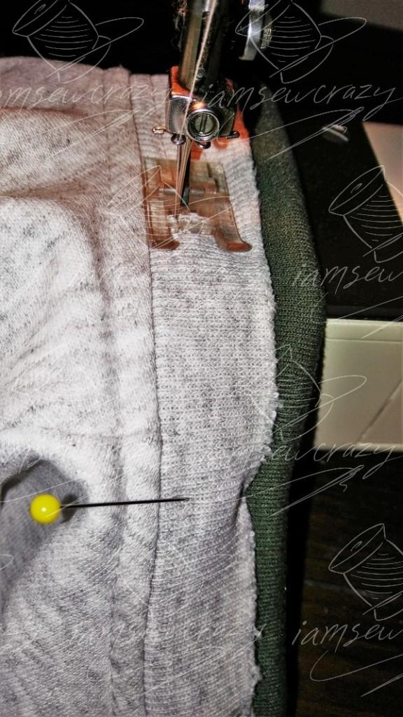 sewing new neckband ribbing onto sweatshirt