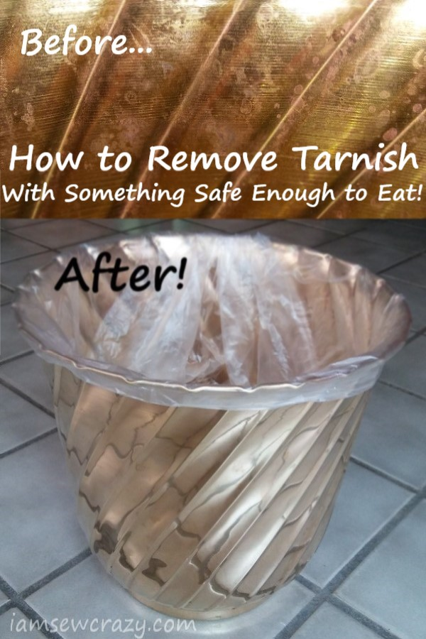 before and after picture of tarnish removed from a brass trash can