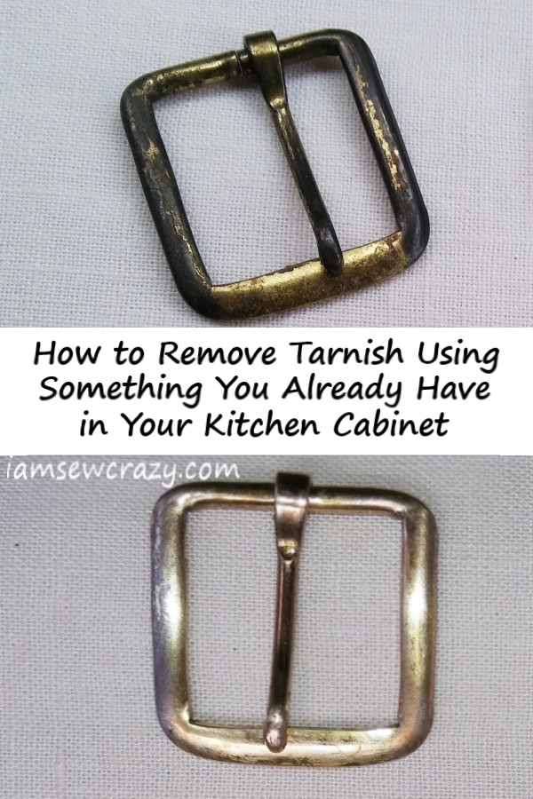 belt buckle with tarnish removed and text overlay: how to remove tarnish using something you already have in your kitchen cabinet