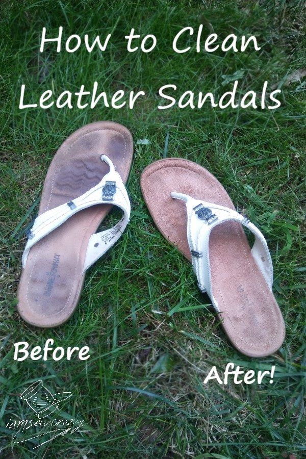 leather sandals, one dirty and one clean, with text overlay: how to clean leather sandals before and after