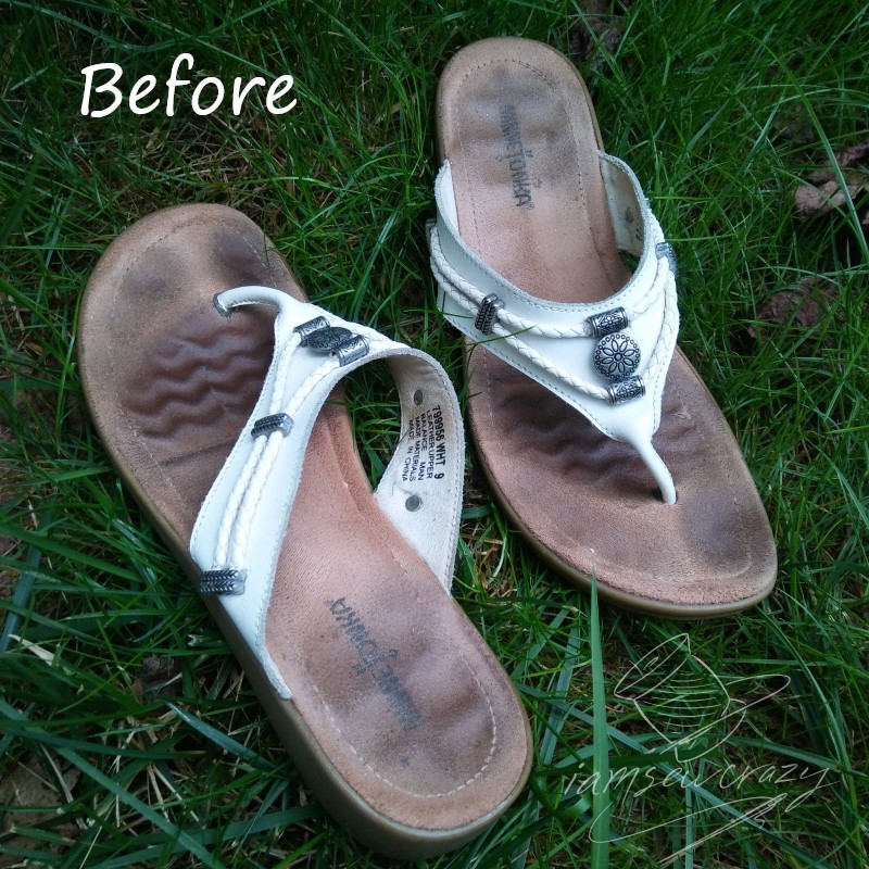leather sandals before cleaning