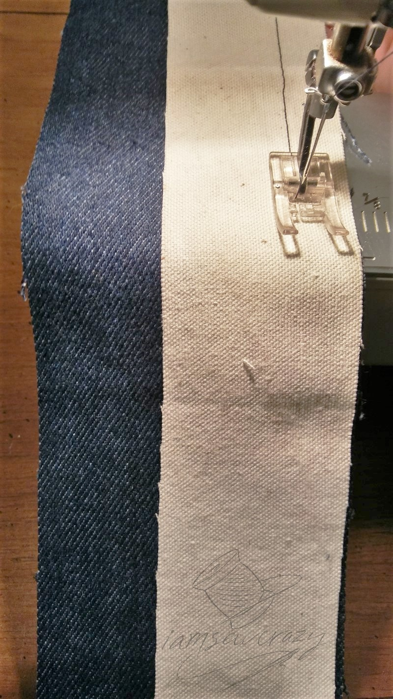 sewing first seam on tote bag strap