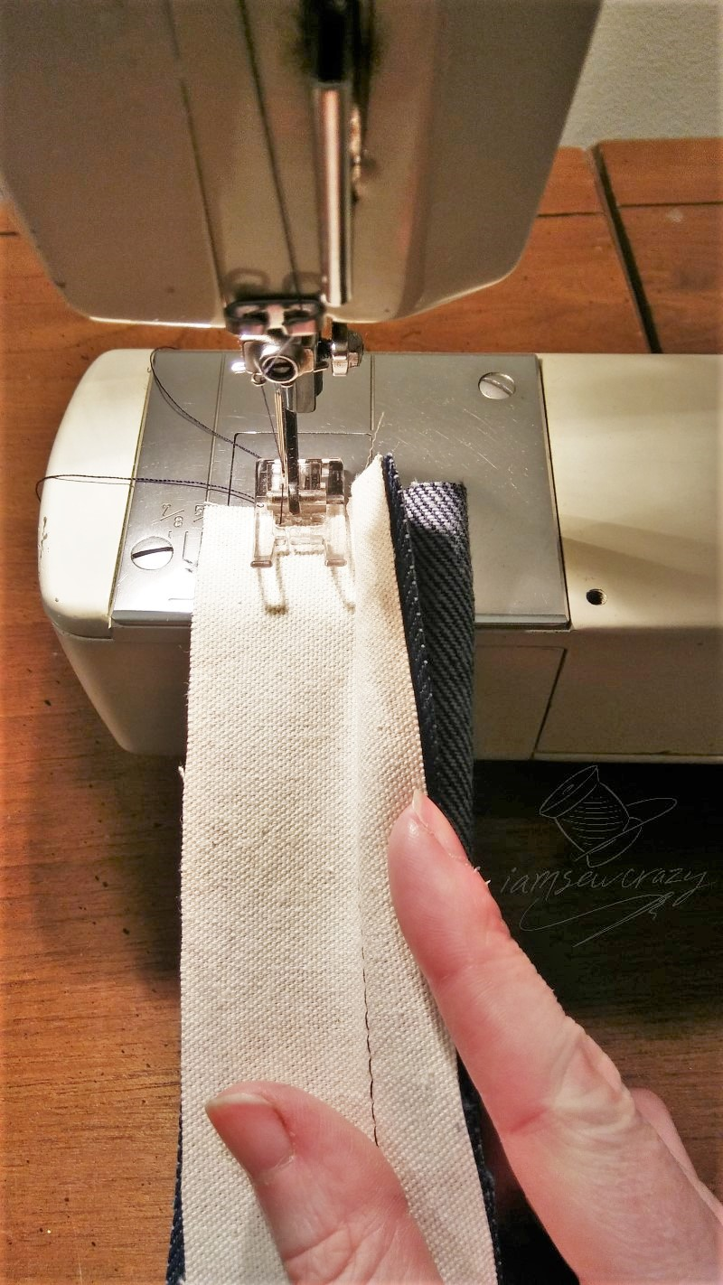 sewing second seam on tote bag strap