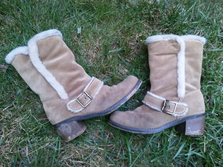 stained suede boots