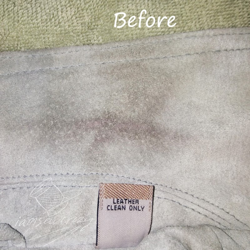 suede before cleaning with magic eraser