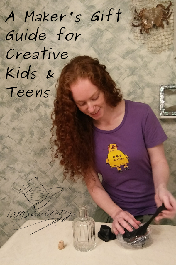 woman crafting with foam clay with text overlay: a maker's gift guide for creative kids and teens