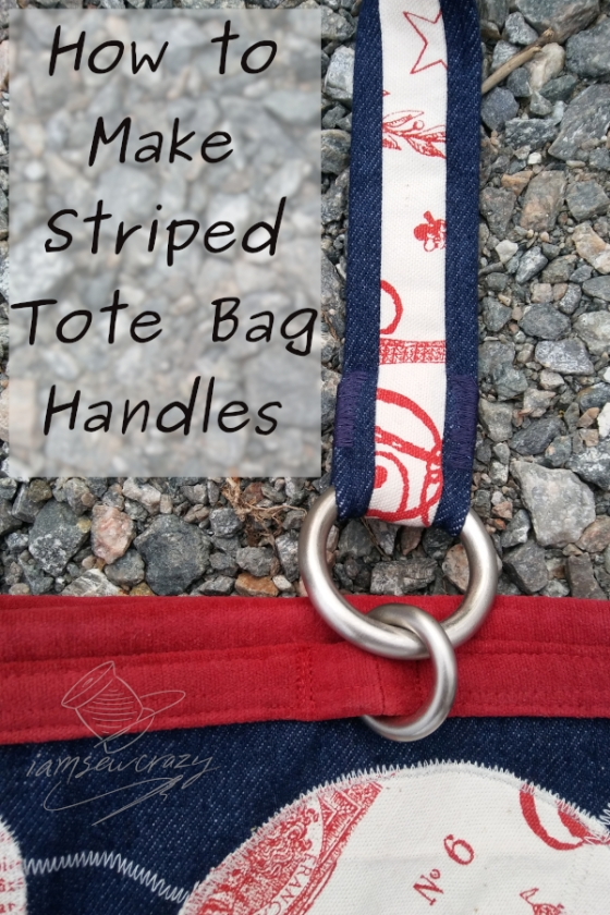 red and blue tote bag with circular pattern and text overlay: how to make striped tote bag handles