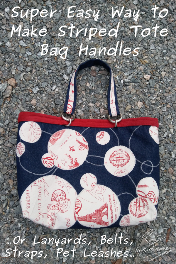 red and blue tote bag on crushed stone background with text overlay: super easy way to make striped tote bag handles