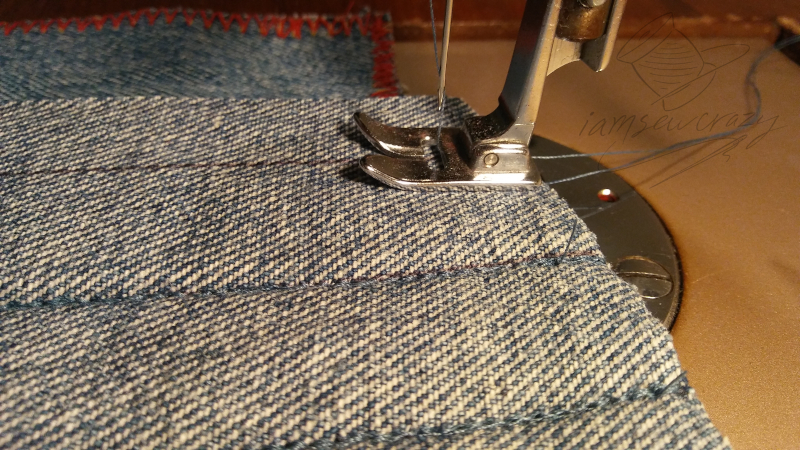 starting to sew multiple layers of denim
